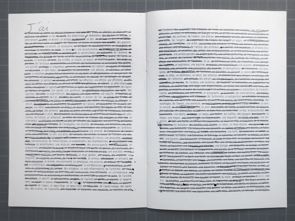 Claude Closky, 'Tout ce que j'ai [All I've got]', 1995, ballpoint pen on printed matter, 28 pages, 21 x 15 cm.